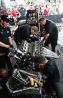 Feb 23, 2014; Chandler, AZ, USA; Crew members work in the pit area of NHRA funny car driver Alexis DeJoria during the Carquest Auto Parts Nationals at Wild Horse Motorsports Park. Mandatory Credit: Mark J. Rebilas-USA TODAY Sports