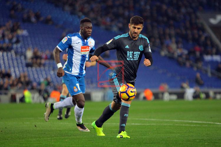 League Santander 2016/2017. Game: 22.<br /> RCD Espanyol vs Real Sociedad: 1-2.<br /> Felipe Caicedo vs Raul Navas.