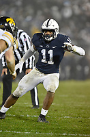 STATE COLLEGE, PA - OCTOBER 27: Penn State LB Micah Parsons (11) covers a receiver. The Penn State Nittany Lions defeated the Iowa Hawkeyes 30-24 on October 27, 2018 at Beaver Stadium in State College, PA. (Photo by Randy Litzinger/Icon Sportswire)