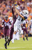 Landover, MD - SEPT 3, 2017: A pass is thrown just out of reach of West Virginia Mountaineers wide receiver David Sills V (13)  during game between West Virginia and Virginia Tech at FedEx Field in Landover, MD. (Photo by Phil Peters/Media Images International)