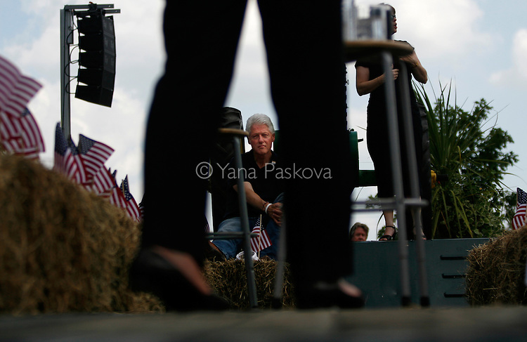 Democratic Presidential hopeful Hillary Clinton (D-NY) brought along her husband, former President Bill Clinton, as she campaigned at the National Cattle Congress in Waterloo, Iowa, on July 4, 2007.