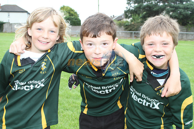 Karl Meegan, Luke Mac Quillan and Alan Mullen at the Summer Camp in Boyne Rugby Football Club...Picture Jenny Matthews/Newsfile.ie