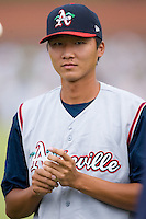 Sheng-An Kuo (28) of the Asheville Tourists at L.P. Frans Stadium in Hickory, NC, Wednesday, May 21, 2008.
