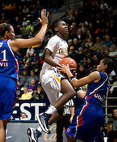Afure Jemerigbe of California shoots the ball during the game against Kansas at Haas Pavilion in Berkeley, California on December 21st, 2012.  California defeated Kansas, 88-79.