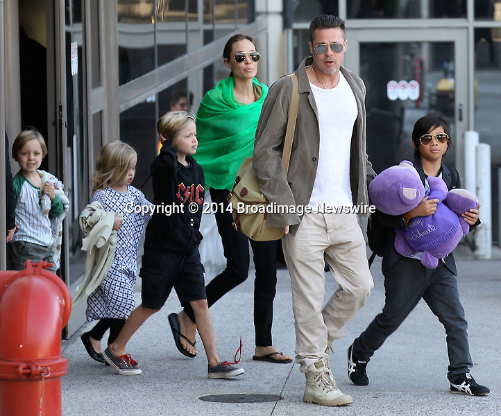 Pictured: Brad Pitt, Angelina Jolie, Shiloh Nouvel Jolie-Pitt, Maddox Chivan Jolie-Pitt, Pax Thien Jolie-Pitt, Knox Leon Jolie-Pitt, Zahara Marley Jolie-Pitt, Vivienne Marcheline Jolie-Pitt<br /> Mandatory Credit &copy; Ben Foster/Broadimage<br /> Brad Pitt, Angelina Jolie and family arriving at the Los Angeles International Airport<br /> <br /> 2/5/14, Los Angeles, California, United States of America<br /> <br /> Broadimage Newswire<br /> Los Angeles 1+  (310) 301-1027<br /> New York      1+  (646) 827-9134<br /> sales@broadimage.com<br /> http://www.broadimage.com<br /> <br /> <br /> Pictured: Brad Pitt, Angelina Jolie, Shiloh Nouvel Jolie-Pitt, Maddox Chivan Jolie-Pitt, Pax Thien Jolie-Pitt, Knox Leon Jolie-Pitt, Zahara Marley Jolie-Pitt, Vivienne Marcheline Jolie-Pitt<br /> Mandatory Credit &copy; Ben Foster/Broadimage<br /> Brad Pitt, Angelina Jolie and family arriving at the Los Angeles International Airport<br /> <br /> 2/5/14, Los Angeles, California, United States of America<br /> Reference: 020514_HDLA_BDG_007<br /> <br /> Broadimage Newswire<br /> Los Angeles 1+  (310) 301-1027<br /> New York      1+  (646) 827-9134<br /> sales@broadimage.com<br /> http://www.broadimage.com