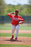 Philadelphia Phillies pitcher Sixto Sanchez (66) during a minor league Spring Training game against the Pittsburgh Pirates on March 24, 2017 at Carpenter Complex in Clearwater, Florida.  (Mike Janes/Four Seam Images)