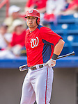 11 March 2013: Washington Nationals outfielder Tyler Moore at bat during a Spring Training game against the Atlanta Braves at Space Coast Stadium in Viera, Florida. The Braves defeated the Nationals 7-2 in Grapefruit League play. Mandatory Credit: Ed Wolfstein Photo *** RAW (NEF) Image File Available ***