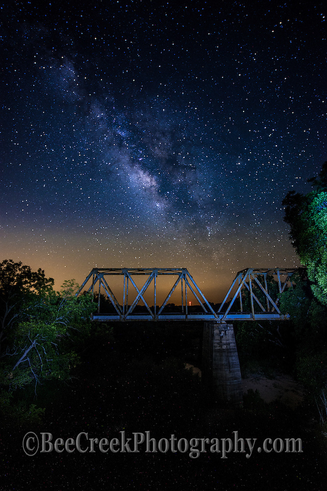 Another capture of the old railroad bridge as the milkyway comes up in the night sky.
