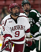 Luke Esposito (Harvard - 9), Ryan Bullock (Dartmouth - 22) - The Harvard University Crimson defeated the Dartmouth College Big Green 5-2 to sweep their weekend series on Sunday, November 1, 2015, at Bright-Landry Hockey Center in Boston, Massachusetts. -
