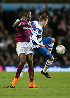 Queens Park Rangers' Josh Scowen under pressure from Aston Villa's Keinan Davis<br /> <br /> Photographer Andrew Kearns/CameraSport<br /> <br /> The EFL Sky Bet Championship -  Aston Villa v Queens Park Rangers - Tuesday 13th March 2018 - Villa Park - Birmingham<br /> <br /> World Copyright &copy; 2018 CameraSport. All rights reserved. 43 Linden Ave. Countesthorpe. Leicester. England. LE8 5PG - Tel: +44 (0) 116 277 4147 - admin@camerasport.com - www.camerasport.com