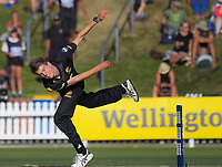 Ben Sears bowls during the Burger King Super Smash T20 cricket match between the Wellington Firebirds and Canterbury Kings at Basin Reserve in Wellington, New Zealand on Sunday, 6 January 2019. Photo: Dave Lintott / lintottphoto.co.nz