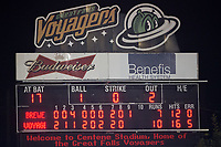 The Helena Brewers and the Great Falls Voyagers combined for 17 runs and 28 hits in Pioneer League action at Centene Stadium on August 18, 2017 in Helena, Montana.  The Voyagers defeated the Brewers 10-7.  (Brian Westerholt/Four Seam Images)