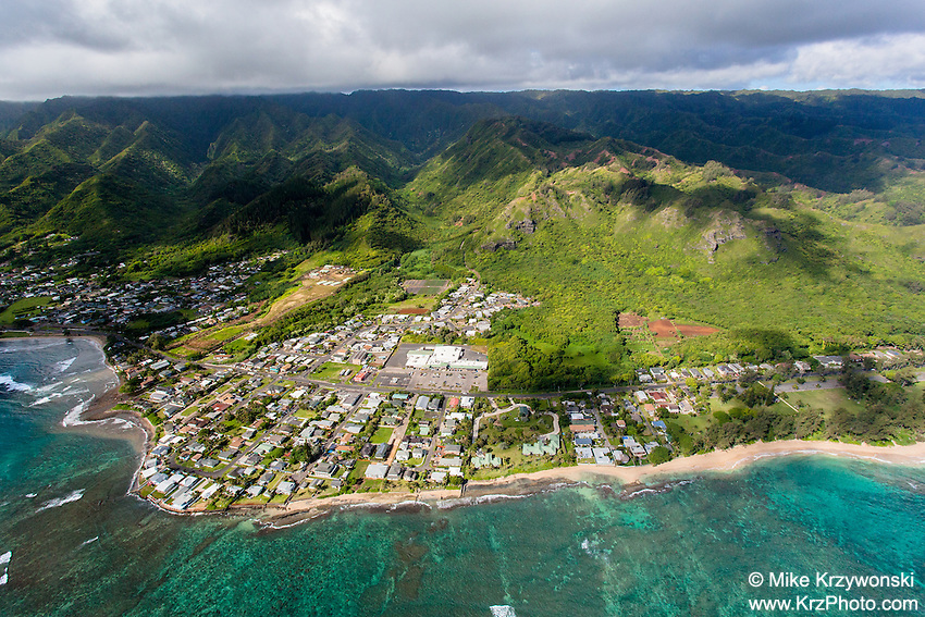 Aerial view of Hau'ula, Oahu