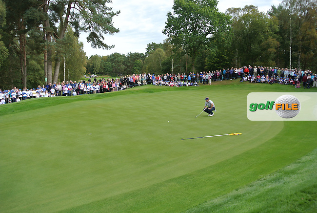 The crowd gathering around the 16th green during Day 2 Singles for the Junior Ryder Cup 2014 at Blairgowrie Golf Club on Tuesday 23rd September 2014.<br /> Picture:  Thos Caffrey / www.golffile.ie