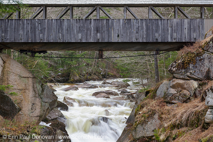 "Looking upriver at the Sentinel Pine Covered Bridge in Franconia Notch State Park of Lincoln, New Hampshire during the spring months. This footbridge crosses over the Pemigewasset River just above ""The Pool""."
