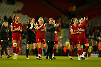 17th November 2019; Anfield, Liverpool, Merseyside, England; Womens Super League Footballl, Liverpool Women versus Everton; Liverpool FC Women manager Vicky Jepson takes her players down to the Kop end after thy lost 0-1 to Everton today