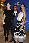 BEVERLY HILLS, CA- DECEMBER 12: (L-R) Actors Olivia Wilde, Aziz Ansari and Zoe Saldana attend the 71st Golden Globe Awards Nominations Announcement at The Beverly Hilton Hotel on December 12, 2013 in Beverly Hills, California.