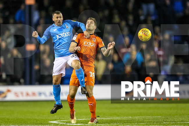 Paul Caddis of Bradford City and James Collins of Luton Town during the Sky Bet League 1 match between Luton Town and Bradford City at Kenilworth Road, Luton, England on 27 November 2018. Photo by Thomas Gadd.