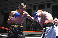 Andre Grant (black shorts) defeats Antonio Horvatic during a Boxing Show at York Hall on 14th April 2018