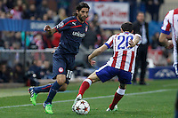Atletico de Madrid´s Juanfran (R) and Olympiacos´s Alejandro Dominguez during Champions League soccer match between Atletico de Madrid and Olympiacos at Vicente Calderon stadium in Madrid, Spain. November 26, 2014. (ALTERPHOTOS/Victor Blanco) /NortePhoto