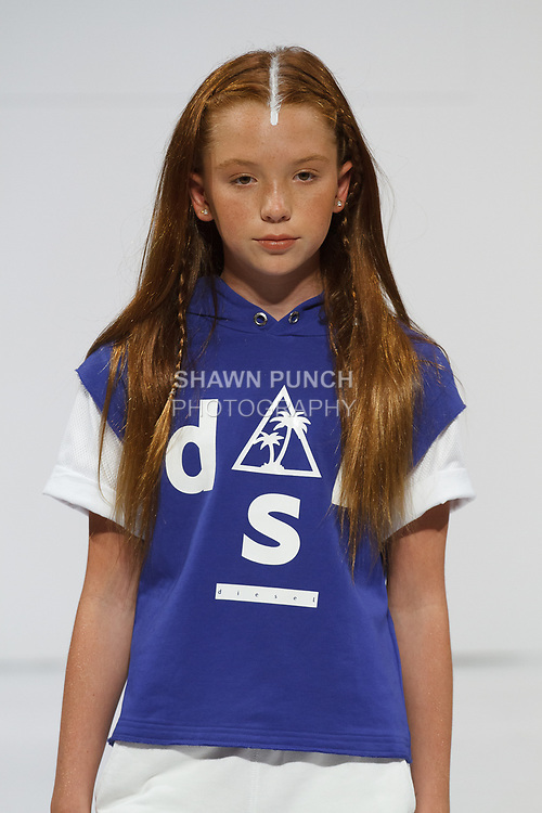 Model walks runway in an outfit from the Diesel Kids Spring 2018 collection, for the petitePARADE Spring Summer 2018 fashion show with Children's Club, at Javits Center in New York City, on August 7, 2017.