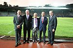 06 September 2008: U.S. Soccer Federation dignitaries. From left: MLS Commissioner Don Garber, USSF General Secretary Dan Flynn, USSF President Sunil Gulati, Board member Carlos Cordeiro, and Tom King. The United States Men's National Team defeated the Cuba Men's National Team 1-0 at Estadio Nacional de Futbol Pedro Marrero in Havana, Cuba in a CONCACAF semifinal round FIFA 2010 South Africa World Cup Qualifier.