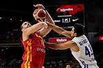 Marc Gasol of Spain and Garcia of Dominican Republic during the Friendly match between Spain and Dominican Republic at WiZink Center in Madrid, Spain. August 22, 2019. (ALTERPHOTOS/A. Perez Meca)