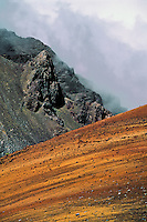 Contrast of color and rugged landscape in the crater of HALEAKALA NATIONAL PARK on Maui in Hawaii