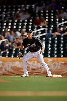Birmingham Barons first baseman Gavin Sheets (24) during a Southern League game against the Chattanooga Lookouts on May 2, 2019 at Regions Field in Birmingham, Alabama.  Birmingham defeated Chattanooga 4-2.  (Mike Janes/Four Seam Images)