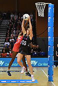 7th September 2017, Te Rauparaha Arena, Wellington, New Zealand; Taini Jamison Netball Trophy; New Zealand versus England;  Silver Ferns Kayla Cullen takes a pass with Englands captain Ama Agbeze challenging for the ball