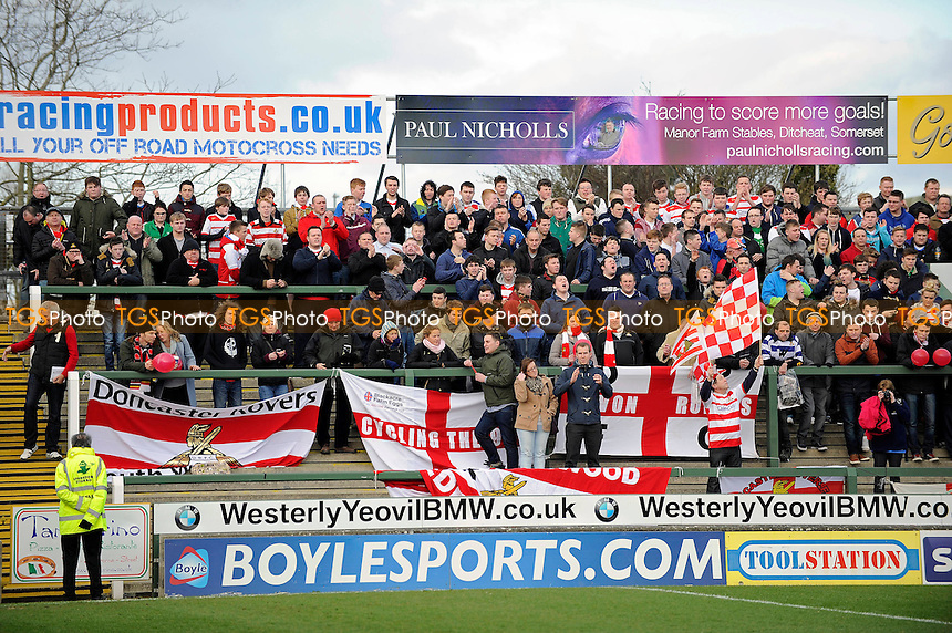 Doncaster Rovers fans enjoyed free coach travel to their match with Yeovil Town - Yeovil Town vs Doncaster Rovers - Sky Bet Championship Football at Huish Park, Yeovil, Somerset - 22/02/14 - MANDATORY CREDIT: Denis Murphy/TGSPHOTO - Self billing applies where appropriate - 0845 094 6026 - contact@tgsphoto.co.uk - NO UNPAID USE