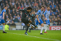 Willian of Chelsea (22) Scores his teams second goal of the game  during the Premier League match between Brighton and Hove Albion and Chelsea at the American Express Community Stadium, Brighton and Hove, England on 20 January 2018. Photo by Edward Thomas / PRiME Media Images.