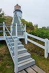 Knox County, Maine: Stairway leading to Owls Head Light in fog