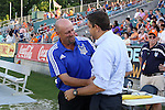 06 June 2015: Carolina head coach Colin Clarke (NIR) (left)and Minnesota head coach Manny Lagos (right) greet each other before the game. The Carolina RailHawks hosted Minnesota United FC at WakeMed Stadium in Cary, North Carolina in a North American Soccer League 2015 Spring Season match. The game ended in a 1-1 tie.