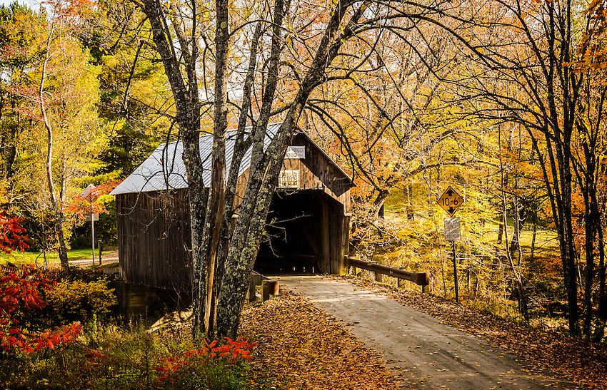 An archway of branches hang over the lane leading to the Moxley Bridge surrounded by Fall foliage in Vermont.
