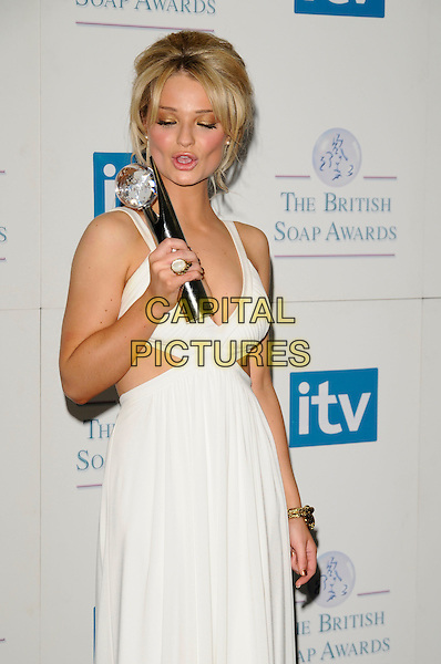 EMMA RIGBY.of Hollyoaks, Winner Best Actress award.Attending the British Soap Awards 2008.BBC Television Centre, Wood Lane, London, England, 3rd May 2008.press room half length white dress .CAP/CAN.©Can Nguyen/Capital Pictures