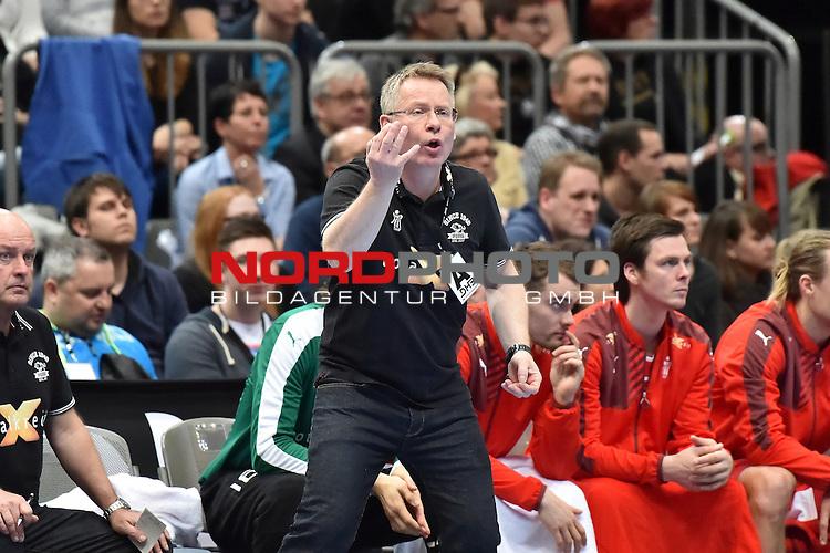 02.04.2016, LANXESS arena, K&ouml;ln , GER, Handball DHB Testl&auml;nderspiel,   Deutschland (GER) vs. D&auml;nemark ( DK) <br /> <br /> im Bild / picture shows: <br /> <br /> GUDMUNDUR GUDMUNDSSON Trainer ( D&auml;nemark/Daenemark) regt sich auf <br /> <br /> <br /> <br /> Foto &copy; nordphoto / meuter
