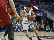Washington, DC - March 10, 2018: Rhode Island Rams guard Jeff Dowtin (11) drives to the basket during the Atlantic 10 semi final game between Saint Joseph's and Rhode Island at  Capital One Arena in Washington, DC.   (Photo by Elliott Brown/Media Images International)