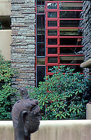 F.L. Wright: Fallingwater. Kitchen (below) and bedroom from balcony.  Photo '76.