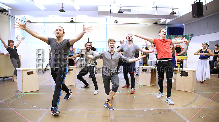Andrew Keenan-Bolger and cast during the 'Tuck Everlasting' press sneak peek at the New 42nd Street studios on February 29, 2016 in New York City.