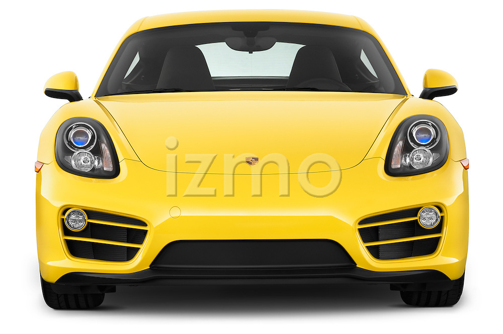 Straight front view of a 2014 Porsche Caymen Coupe