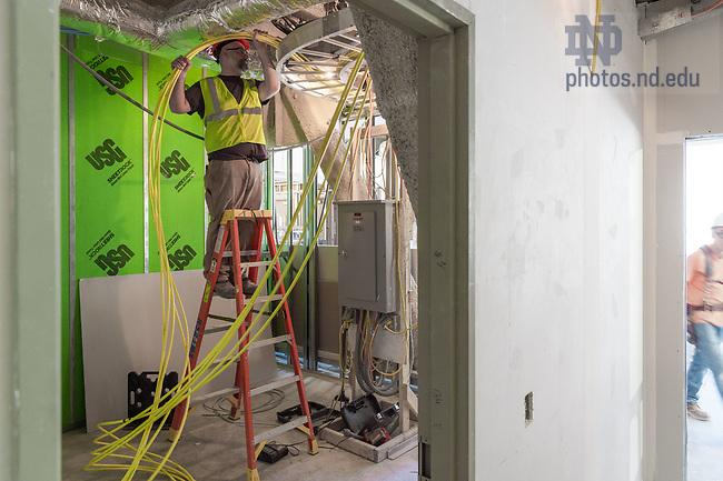 March 8, 2017; Corbett Family Hall 1st floor under construction (Photo by Matt Cashore/University of Notre Dame)