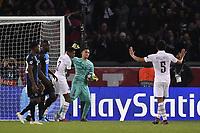 6th November 2019, Paris France; UEFA Champions league football, Paris St German versus Brugges;  KEYLOR NAVAS celebrates saving the PENALTY from  PRESNEL KIMPEMBE PSG