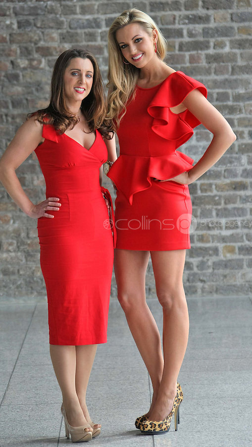 25/08/'10 TV3 presenter, Sinead Desmond and former Miss World, Rosanna Davison pictured at CHQ this morning at a photocall ' This is not a Red Dress, It's a Red Alert' by the Irish Heart Foundation to publicise the fact that heart disease is not just a man's disease, it's the No.1 killer of Irish women. The national charity fighting herat disease and stroke urges all women to take action now to reduce their risk and know the symptoms of heart attack and stroke...Picture Colin Keegan, Collins, Dublin.