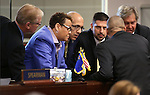 Nevada Senate Democrats caucus on the Senate floor at the Legislative Building in Carson City, Nev., on Tuesday, April 21, 2015. <br /> Photo by Cathleen Allison