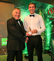 Thursday 10th May 2018 | Ulster Rugby Awards 2018<br /> <br /> Garth Maxwell, of Danske Bank presents the Danske Bank Schools&rsquo; Player of the Year to Aaron Sexton from Bangor Grammar School, during the 2018 Heineken Ulster Rugby Awards at La Mom Hotel, Belfast. Photo by John Dickson / DICKSONDIGITAL