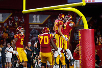LOS ANGELES, CA - SEPTEMBER 8: USC Trojans wide receiver Tyler Vaughns #21 and wide receiver Drake London #15 celebrate after scoring a touchdown during a game between USC and Stanford Football at Los Angeles Memorial Coliseum on September 7, 2019 in Los Angeles, California.
