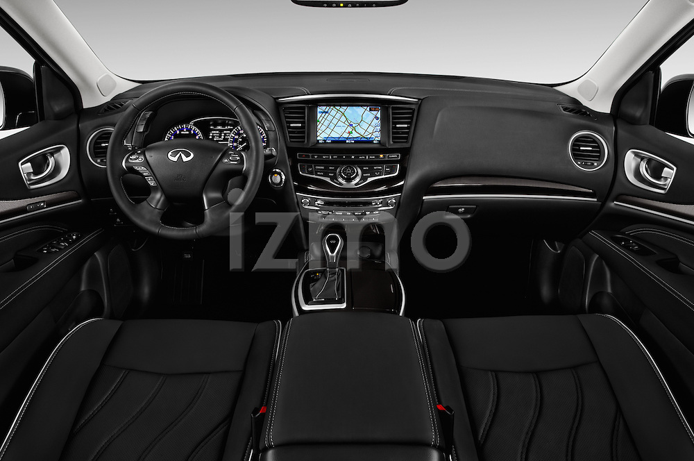 Stock photo of straight dashboard view of 2016 Infiniti QX60 - 5 Door Suv Dashboard