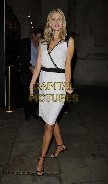 Donna Air.Quintessentially Awards held at One Marylebone - Arrivals, London, England..28th September 2011.full length white grey gray sleeveless trim dress clutch bag  .CAP/CAN.©Can Nguyen/Capital Pictures.