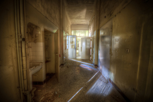 An abandoned hospital somewhere in Thuringia.<br /> I found the architecture a thing of beauty.